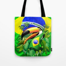 Toco Toucan with Brazil Flag Tote Bag