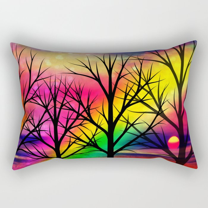 rainbow sunset Rectangular Pillow