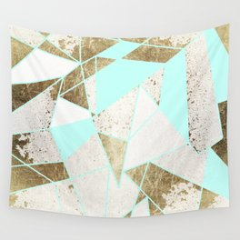 Modern Rustic Mint White and Faux Gold Geometric Wall Tapestry