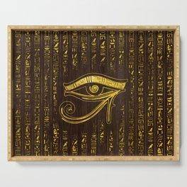 Golden Egyptian Eye of Horus  and hieroglyphics on wood Serving Tray