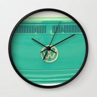 vw Wall Clocks featuring Groovy VW by RDelean