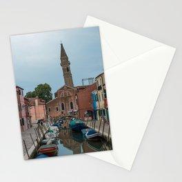Burano Island Italy Canal Boats Stationery Cards