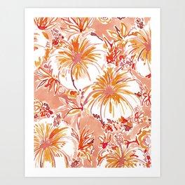KOMBUCHA-CHA Orange Tropical Hibiscus Floral Art Print