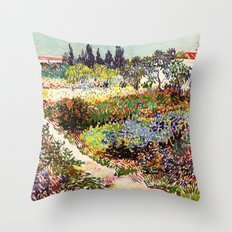 Vincent Van Gogh Flowering Garden Throw Pillow