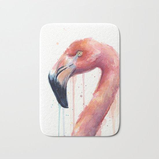 Flamingo Art Watercolor Bath Mat