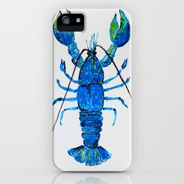 Blue Lobster Wall Art, Lobster Bathroom Decor, Lobster Crustacean Marine Biology iPhone Case