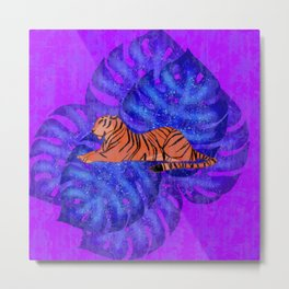 Resting graceful wild tiger and blue monstera leaves purple design.. Metal Print