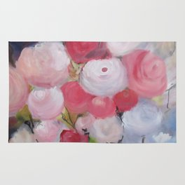 Roses and more Roses Abstract Original Painting White Blue Green Flowers Rug