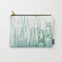 Antique Bottles with Blue Green Glass Carry-All Pouch