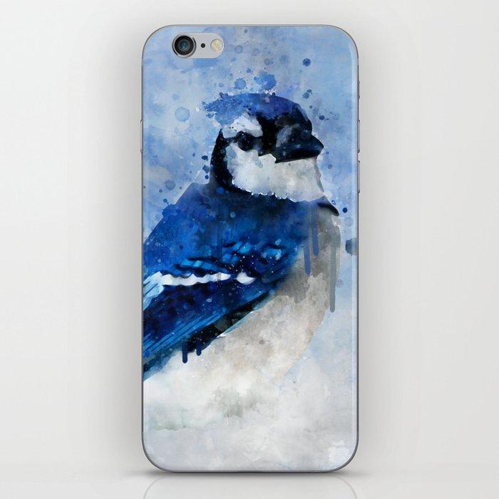 Watercolour blue jay bird iPhone Skin