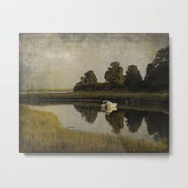 Boat at Dusk with Olive Gold and Gray Metal Print