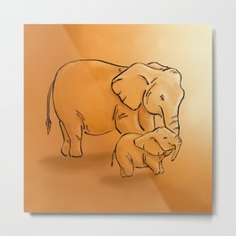 Elephant mother and child Metal Print