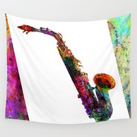 saxophone Wall Tapestries featuring music  by mark ashkenazi