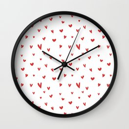 I Love Being Yours - Red Heart Doodle Pattern Wall Clock