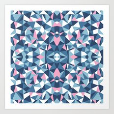 Abstract Collide Blue and Pink Art Print