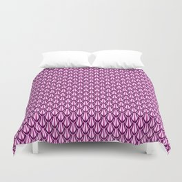 Gleaming Pink Metal Scalloped Scale Pattern Duvet Cover