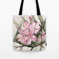 cherry blossom Tote Bags featuring Cherry Blossom by Olechka