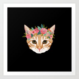 Orange Tabby cat breed with floral crown cute cat gifts cat lady must haves Art Print