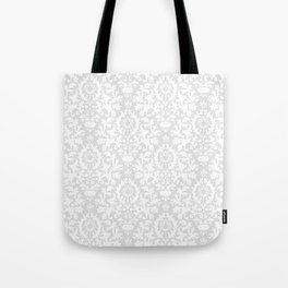 Vintage chic gray white abstract floral damask pattern Tote Bag