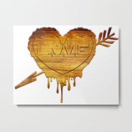 Love in wood Metal Print