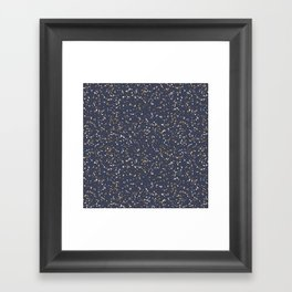 Speckles I: Dark Gold & Snow on Blue Vortex Framed Art Print