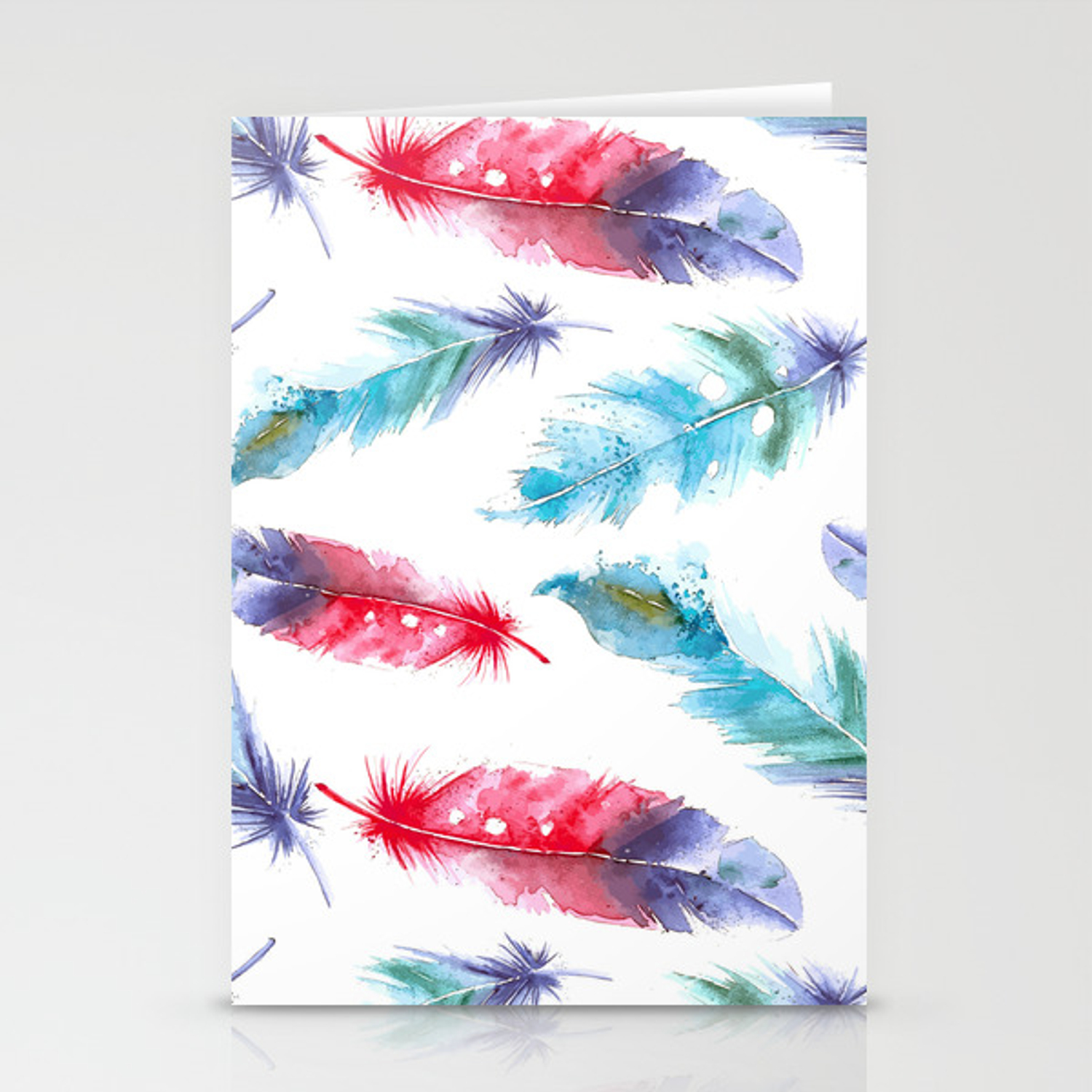 Boho Watercolor Feathers Canvas Tote Bag