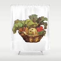 vegetables Shower Curtains featuring Just Vegetables by JessicaWarrick