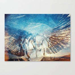 Solar Eclipse Flight - Silver Wings Canvas Print