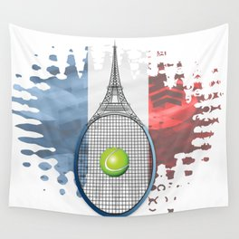 Racquet Eiffel Tower with French flag colors in background Wall Tapestry