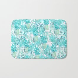 Turquoise Palm Leaves and Pineapples on Pink Bath Mat