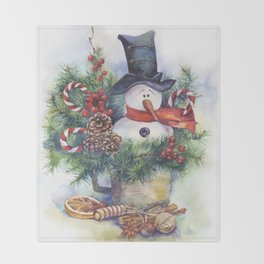 Watercolor Christmas snowman Throw Blanket