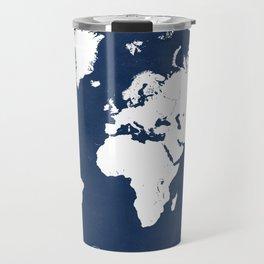 The world awaits world map Travel Mug
