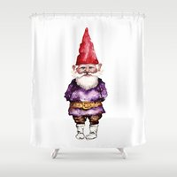 gnome Shower Curtains featuring Alfred the Gnome by Bridget Davidson