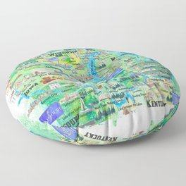 USA Midwest States Travel Map MN WI MI IA KY IL IN OH MO With_Highlights Floor Pillow