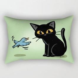 Talking with a bird Rectangular Pillow