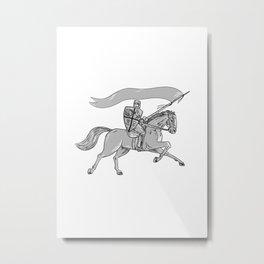 Knight Riding Horse Shield Lance Flag Metal Print