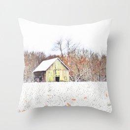 Illinois Snow on the Barn Throw Pillow