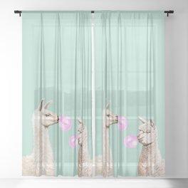 Llama and Alpaca Bubblegum Gang Sheer Curtain