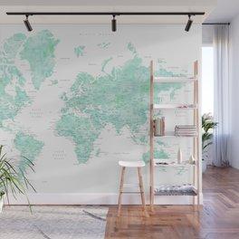 "Light mint watercolor world map, detailed, ""Desie"" Wall Mural"
