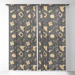 Magic symbols (black) Sheer Curtain