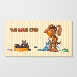 Rabbit catlover Canvas Print