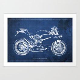 Blueprint, Superbike 1299 Panigale, 2015,brown background, gift for men, classic bike Art Print