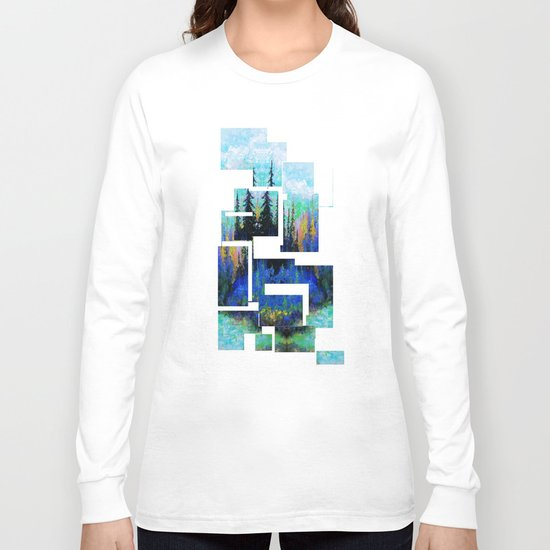 Blue Spruce Island Abstract Art Long Sleeve T-shirt