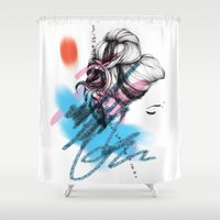 rogue Shower Curtains featuring Rogue Bun - coloured  by Mandy Maria