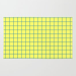 Grid Pattern - lemon yellow and blue - more colors Rug