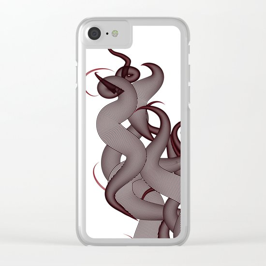 Hairy Waves (Red) Clear iPhone Case