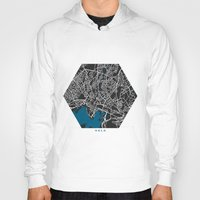 oslo Hoodies featuring Oslo city map black colour by MCartography