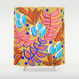 Whimsical Leaves Pattern Shower Curtain