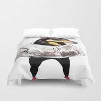 doberman Duvet Covers featuring Bad Dog by withapencilinhand