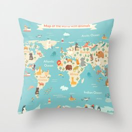 Animals world map for kid Throw Pillow